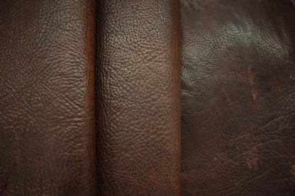 bison leather, shrunken leather