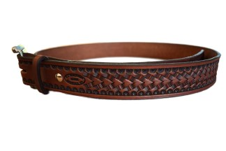 stamped belt, tooled belt, basket stamp belt