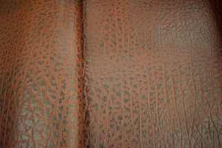 embossed bison leather, veg tan leather
