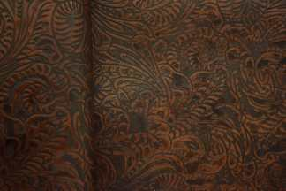 Cognac Western Floral Leather