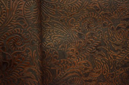 Cognac Western Floral Leather