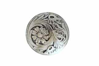 Flower/Leaf concho, round concho, nickel concho