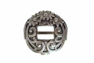 Silver concho, triple flower concho, slotted concho