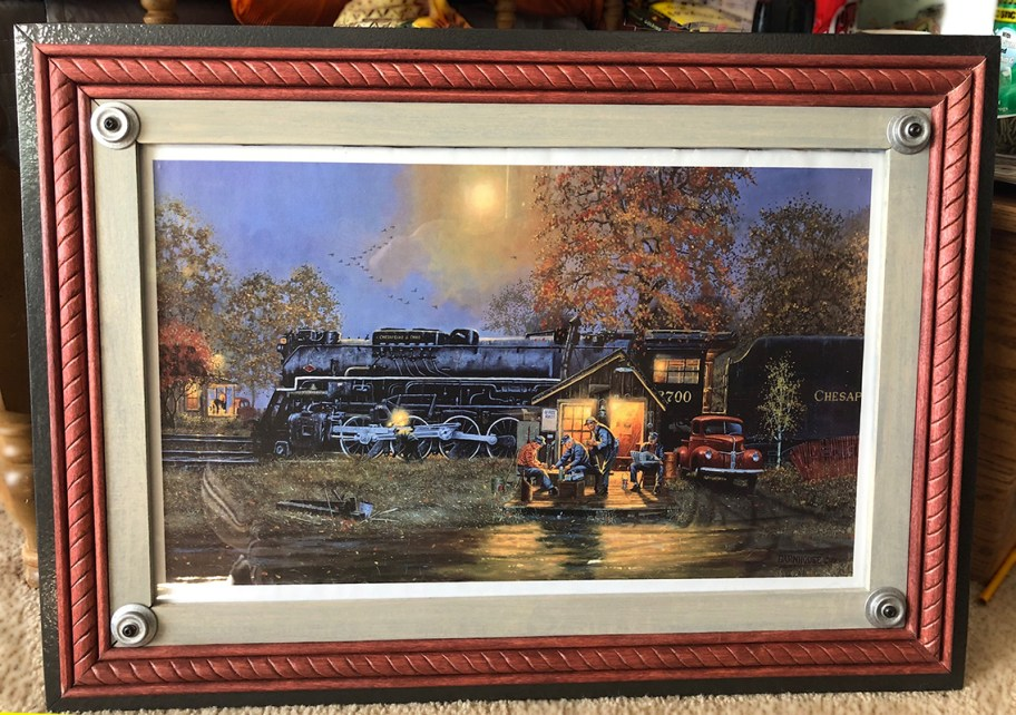 Train Print Custom Wood Frame With Wheel Accents