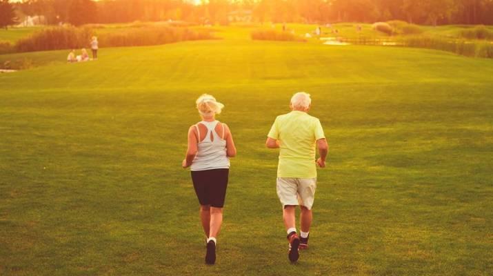 Senior couple taking care of their respiratory health