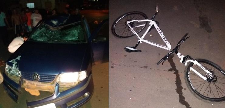 Ciclista bate de frente com carro e fica ferido em Vazante