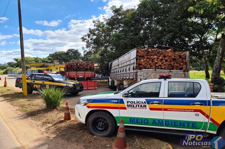 PRF e PM Ambiental apreendem dois caminhões de madeira nativa com documentação irregular na BR 365 em Patos Minas