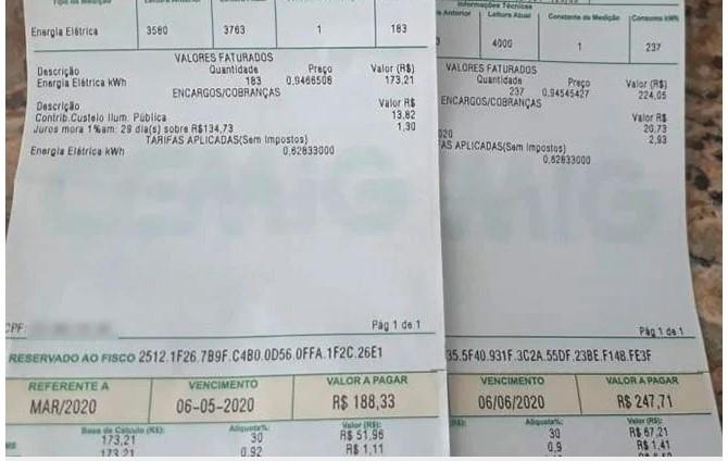 Moradores de Patos de Minas relatam preços abusivos nas contas de energia de maio e até junho