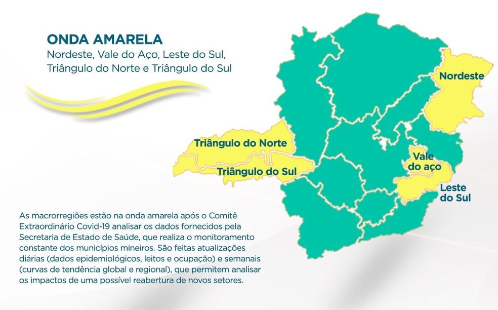 Minas Consciente: macrorregiões Norte e Sul do Triângulo regridem para Onda Amarela; Noroeste se mantém na Onda Verde