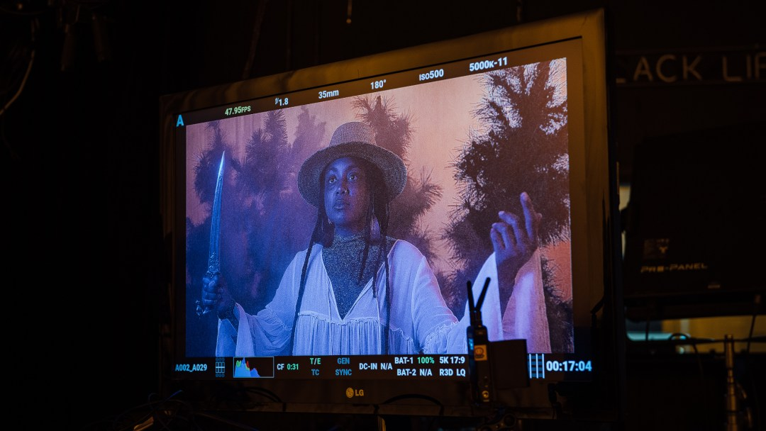 Actor Vaughn Kimmons in a still from Jeff Oliver's Beast of Torpor during filming at Open Signal.