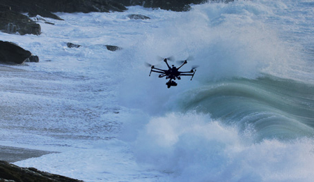 drone aircraft over surf