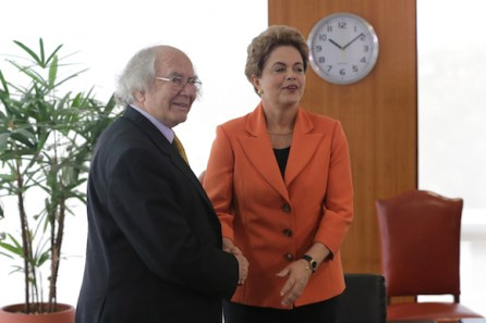 Brazil's President Dilma Rousseff, right, shakes hands with Argentina's Adolfo Perez Esquivel, 1980 Nobel Peace Prize winner, during a photo opportunity at Planalto presidential palace in Brasilia, Brazil, Thursday, April 28, 2016. Rousseff is facing impeachment over allegations her administration violated fiscal laws, in what her foes say was a bid to prop up flagging support through government spending. Brazil's first female president has insisted the procedure amounts to an attempted coup against her. (AP Photo/Eraldo Peres)