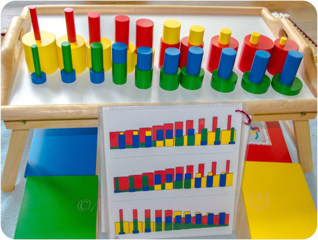KNOBLESS CYLINDERS EXTENSTION Montessori Sensorial Activity Toddler Preschooler
