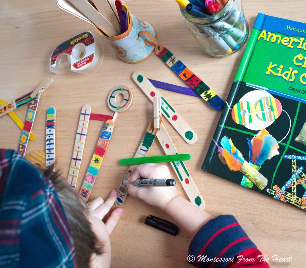 Decorating-Haida-craft-sticks