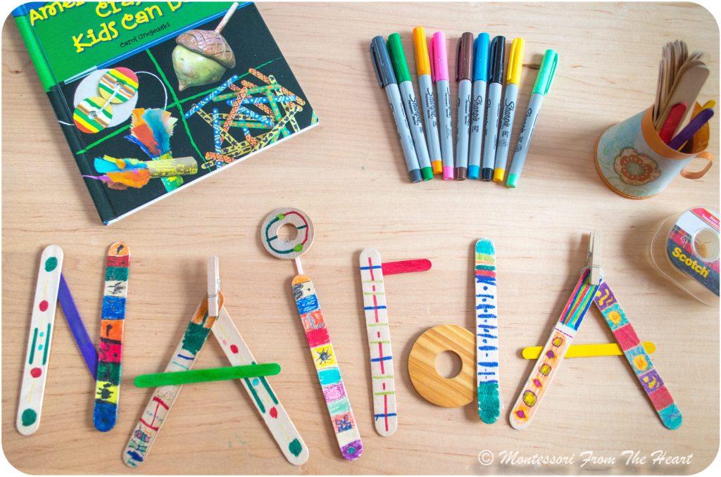 Spelling-Name-Backward-with-Haida-craft-sticks