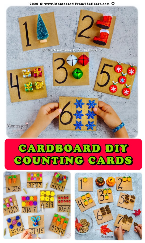 CARDBOARD COUNTING CARDS CHRISTMAS- AUTUMN-SPRING