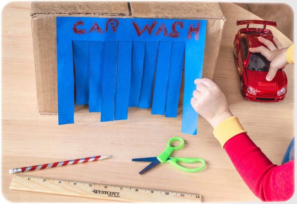 DIY cardboard Car Wash Early Scissors Skill practice