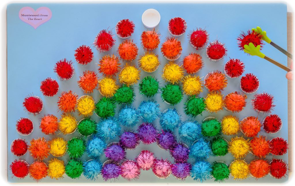 Plastic Bottle Caps Pom-Poms Rainbow DIY
