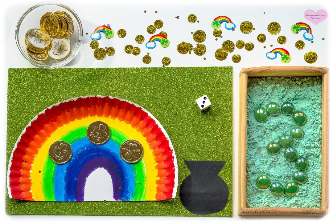Roll the Dice and Count Gold on a Rainbow Montessori Math