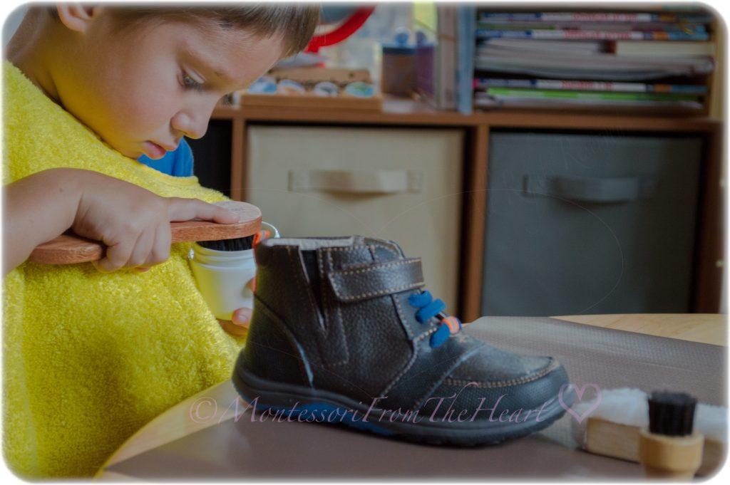 Montessori-Practical-Life-Shoe-Polishing-Kids-Activity