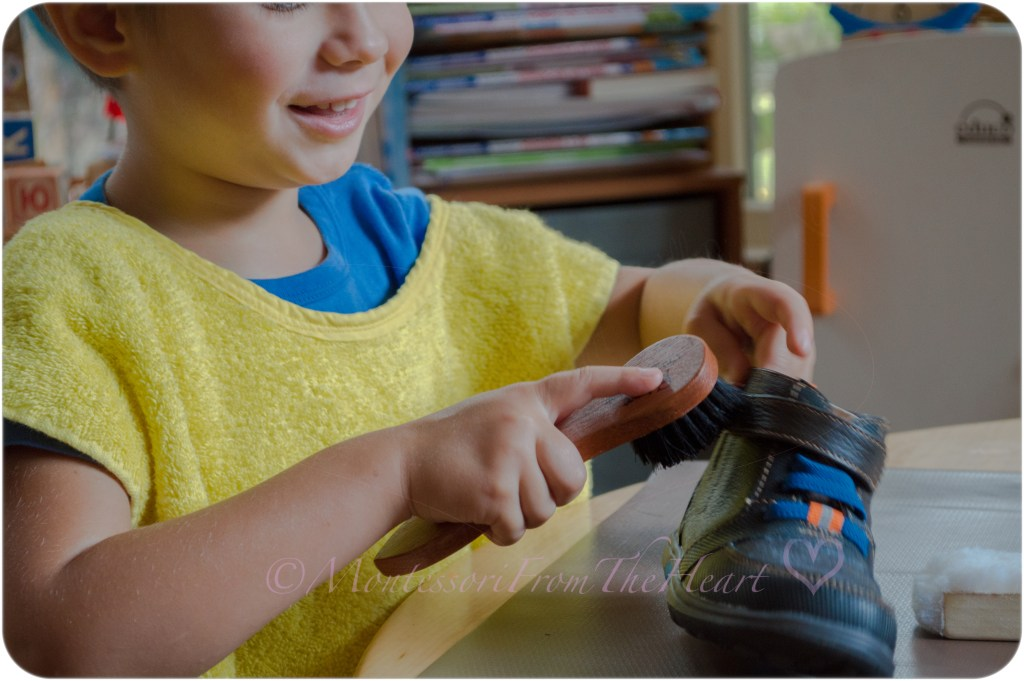 Polishing-Shoes-Practical-Life-Activity. The child who concentrates is immensely happy. Dr Maria Montessori.
