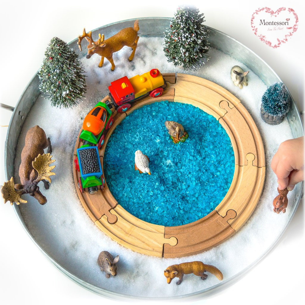 Taste-safe snow-train-tracks-sensory tray