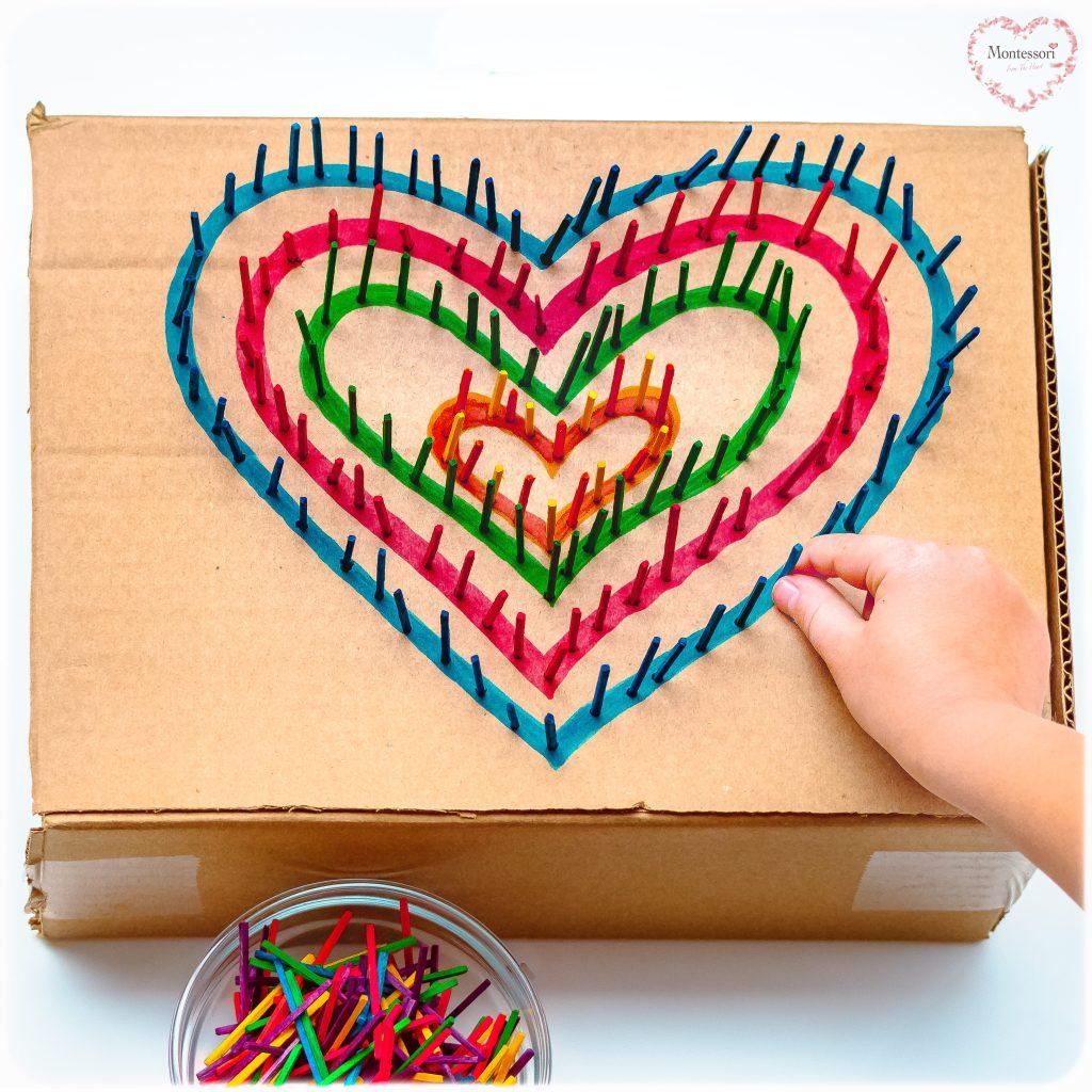 Cardboard-Hearts-Match-Stick-Poke Valentines Kids Activity