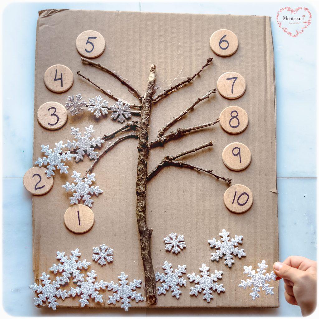 DIY-Stick-Tree-Snowflake-Counting Montessori Math