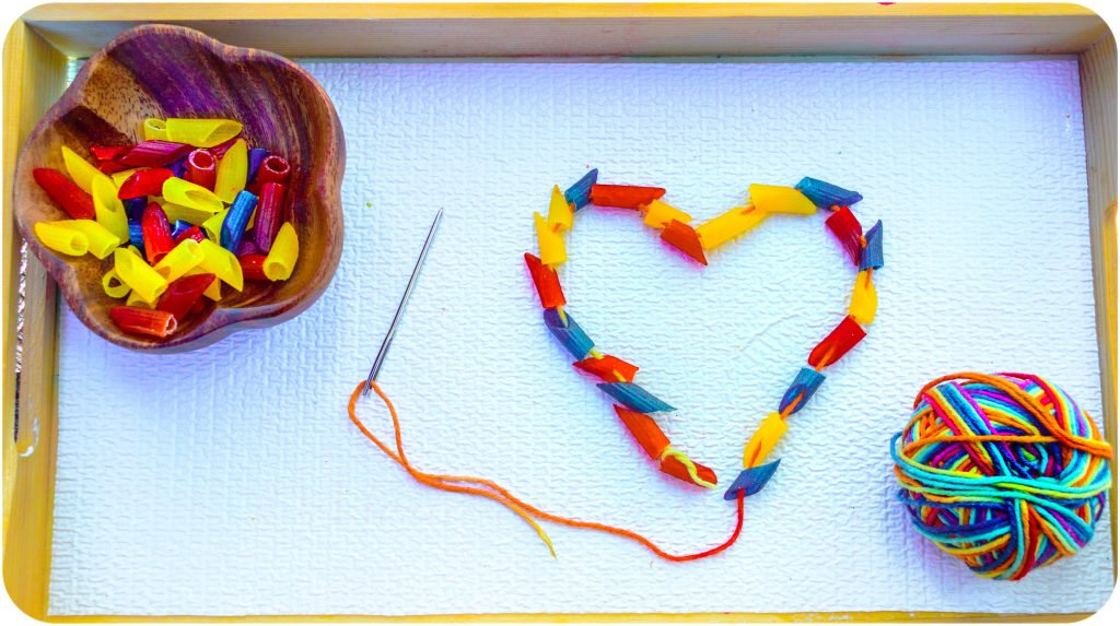 Heart-Rainbow-Pasta-Threading