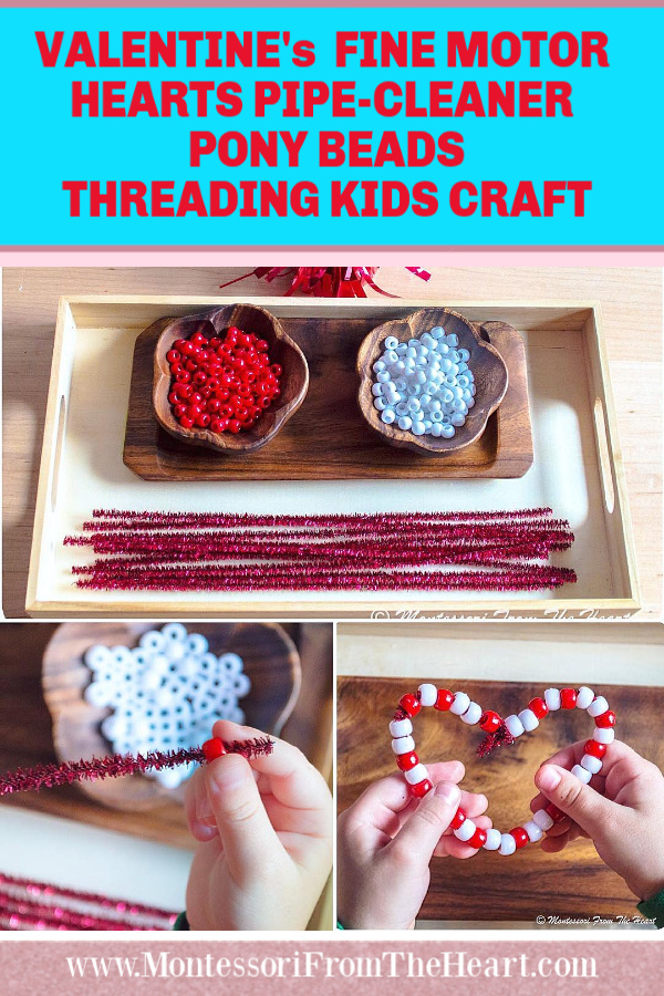 VALENTINE's FINE MOTOR HEARTS PIPE-CLEANER PONY BEADS THREADING KIDS CRAFT