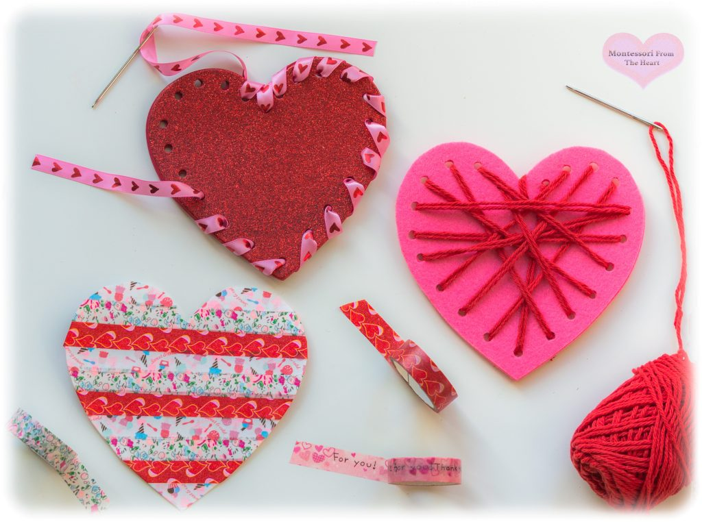 Valentine-Glitter-HEARTs-Weaving-Washi Tape-Pasting-CRAFT