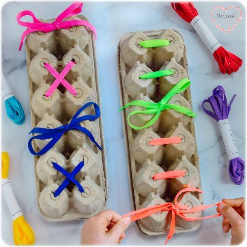 Tie-Laces-Bow-Montessori-Egg-Carton-Frame-DIY