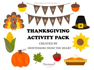 THANKSGIVING Montessori KIDS ACTIVITY PACK