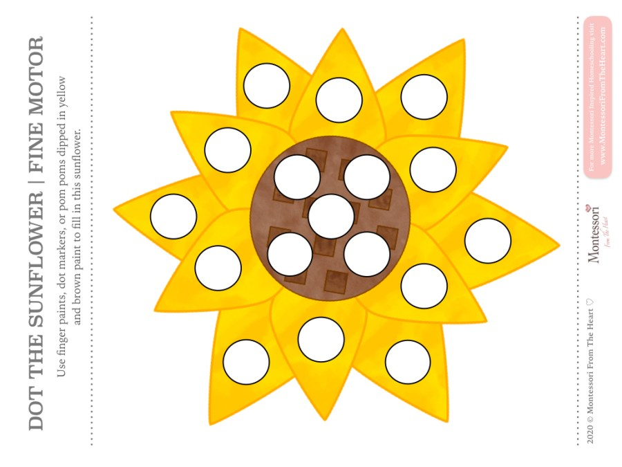 SUNFLOWER DO A DOT THANKSGIVING Montessori KIDS ACTIVITY PACK