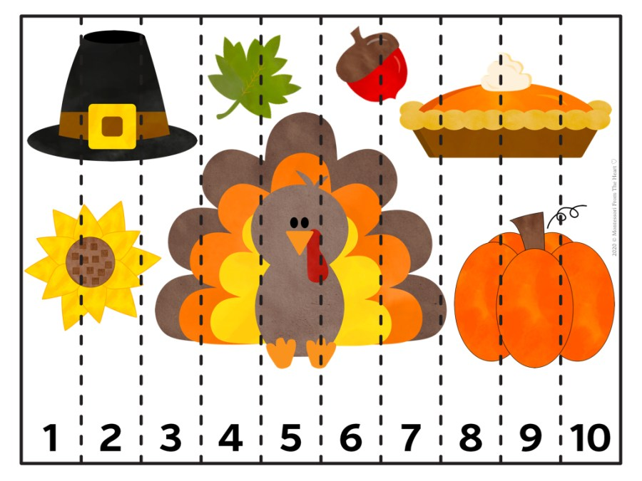 CUT STRIP PUZZLE 1-10 |LOGIC | THANKSGIVING Montessori KIDS ACTIVITY PACK