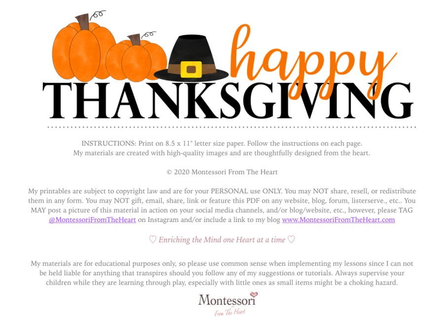 DISCLOSURES| THANKSGIVING Montessori KIDS ACTIVITY PACK