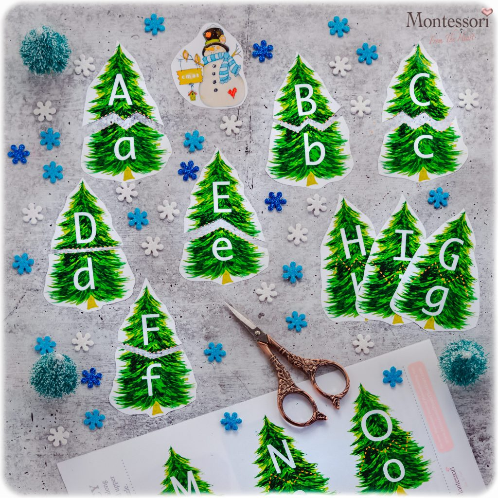 PINE TREES ALPHABET MATCHING PRINTABLE PUZZLE