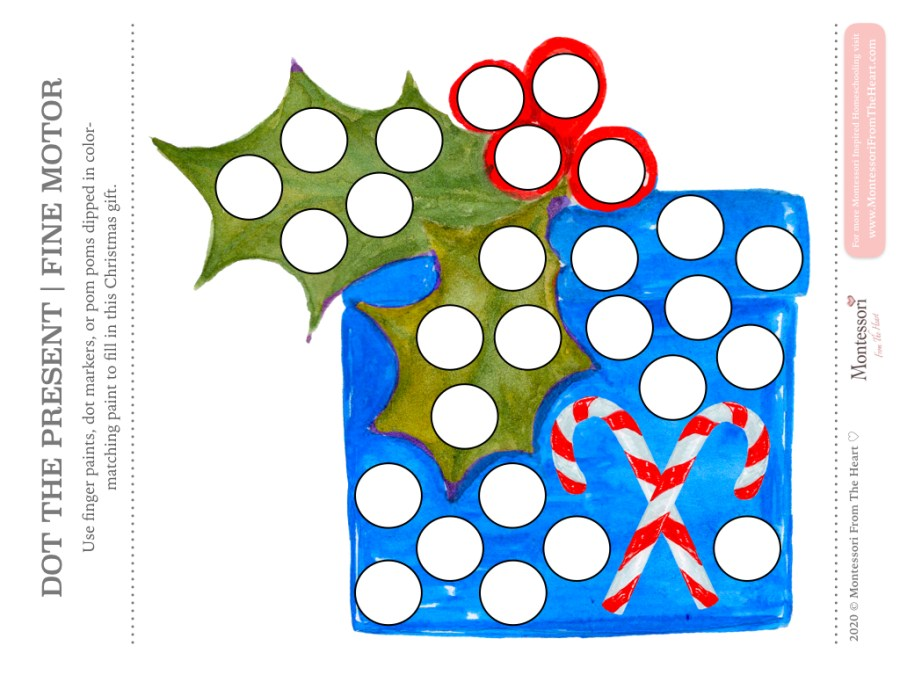 BLUE GIFT DO A DOT CHRISTMAS Montessori Kids Activity Pack