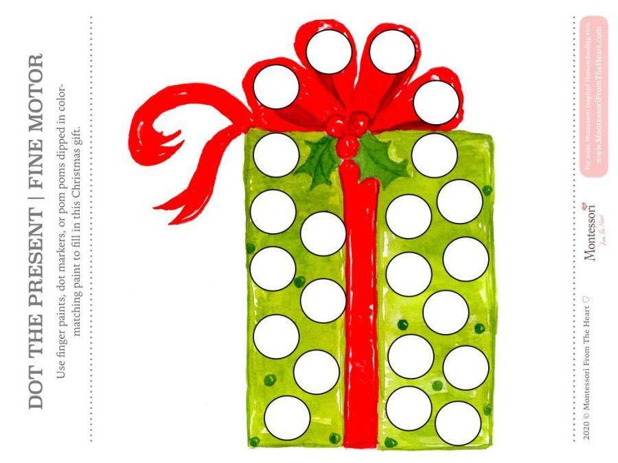 GREEN PRESENT DO A DOT CHRISTMAS Montessori Kids Activity Pack