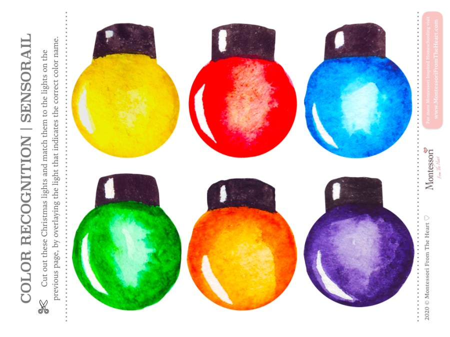 CHRISTMAS LIGHTS COLOR RECOGNITION Montessori Kids Activity Pack