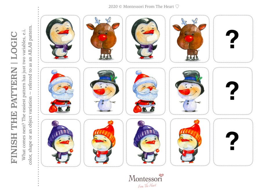 WINTER FRIENDS PATTERN RECOGNITION | LOGIC Christmas Montessori Kids Activity Pack