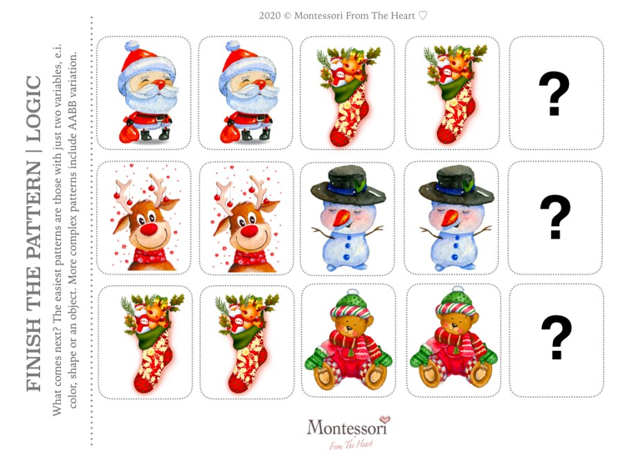 SANTA WINTER FRIENDS PATTERN RECOGNITION | LOGIC Christmas Montessori Kids Activity Pack