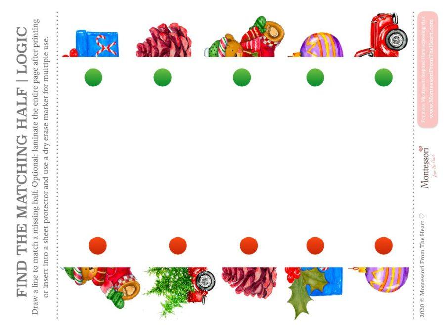 FIND THE MISSING HALF | LOGIC Christmas Montessori Kids Activity Pack