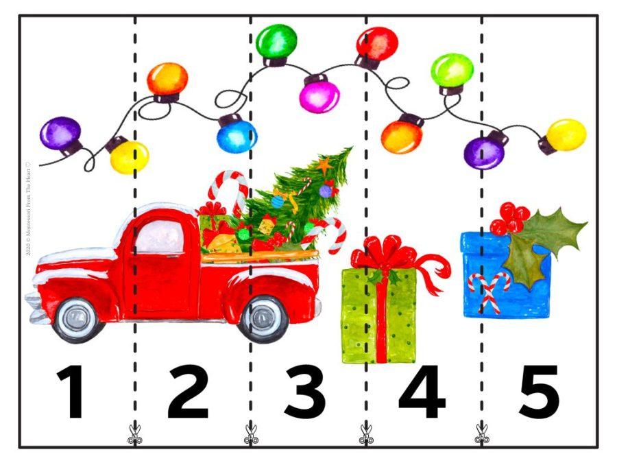 5 STRIP PUZZLE | Christmas Montessori Kids Activity Pack