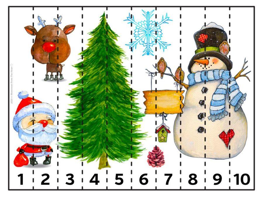 9 STRIP PUZZLE | Christmas Montessori Kids Activity Pack