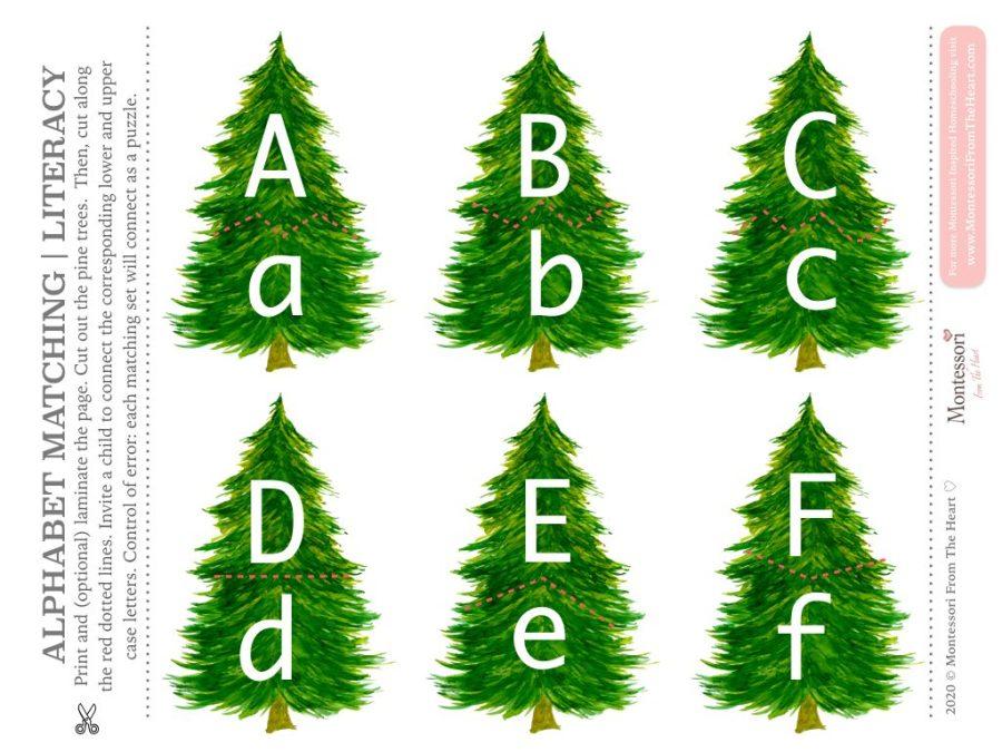 PINE TREE ALPHABET MATCHING | LITERACY Montessori Christmas Pack