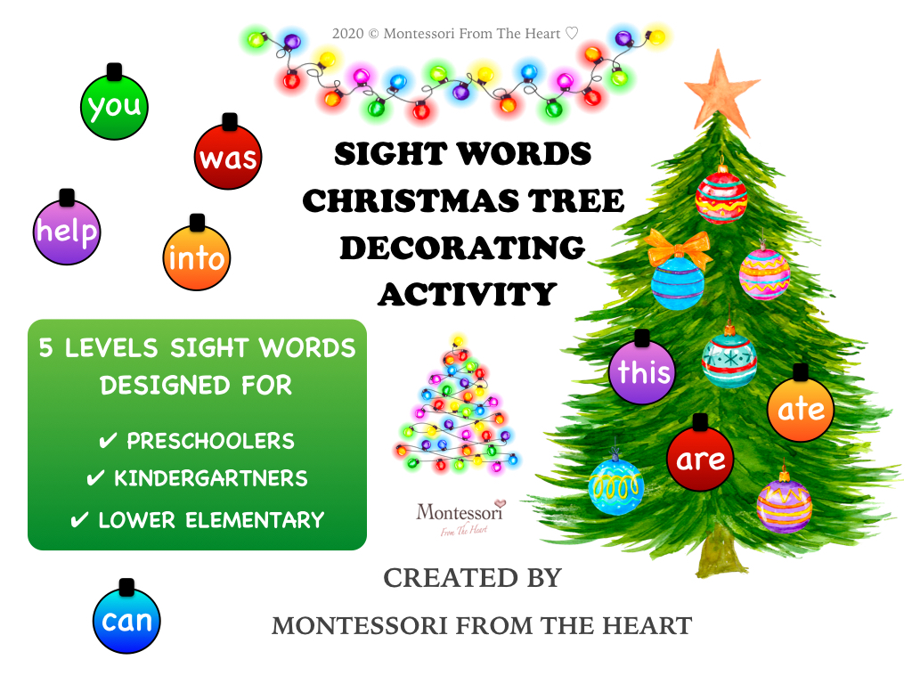 SIGHT WORDS CHRISTMAS TREE DECORATING KIDS ACTIVITY