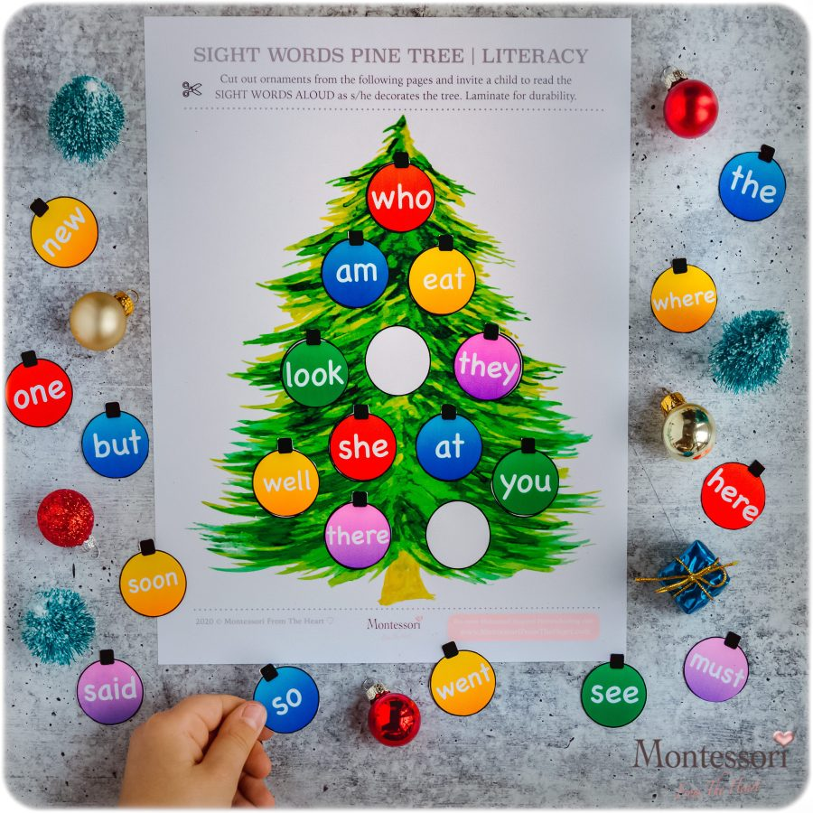SIGHT WORDS ORNAMENTS DECORATE THE TREE