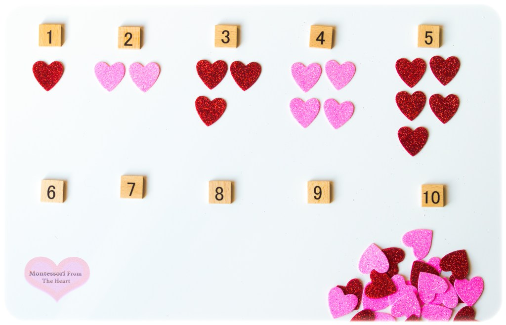 1-10 Hearts Stickers One-to-One-Correspondence