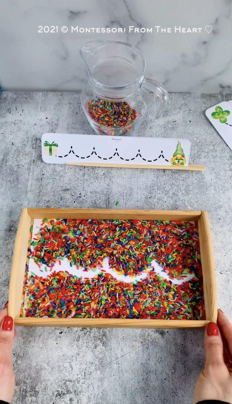 DIY-DYED-RAINBOW-RICE-Montessori-TRACING TRAY